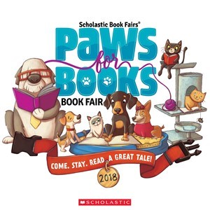 """""""Paws for Books"""" graphic advertising for New Bremen School's 2018 Spring Book Fair"""