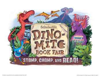 "Book fair logo featuring dinosaurs and the title ""Dino-Mite"""