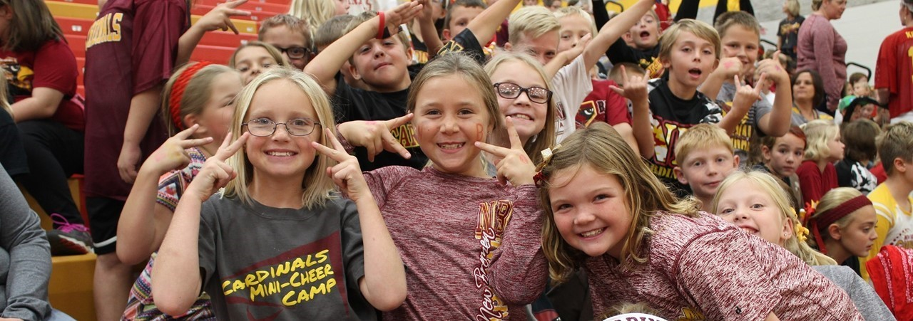 elementary students at pep rally