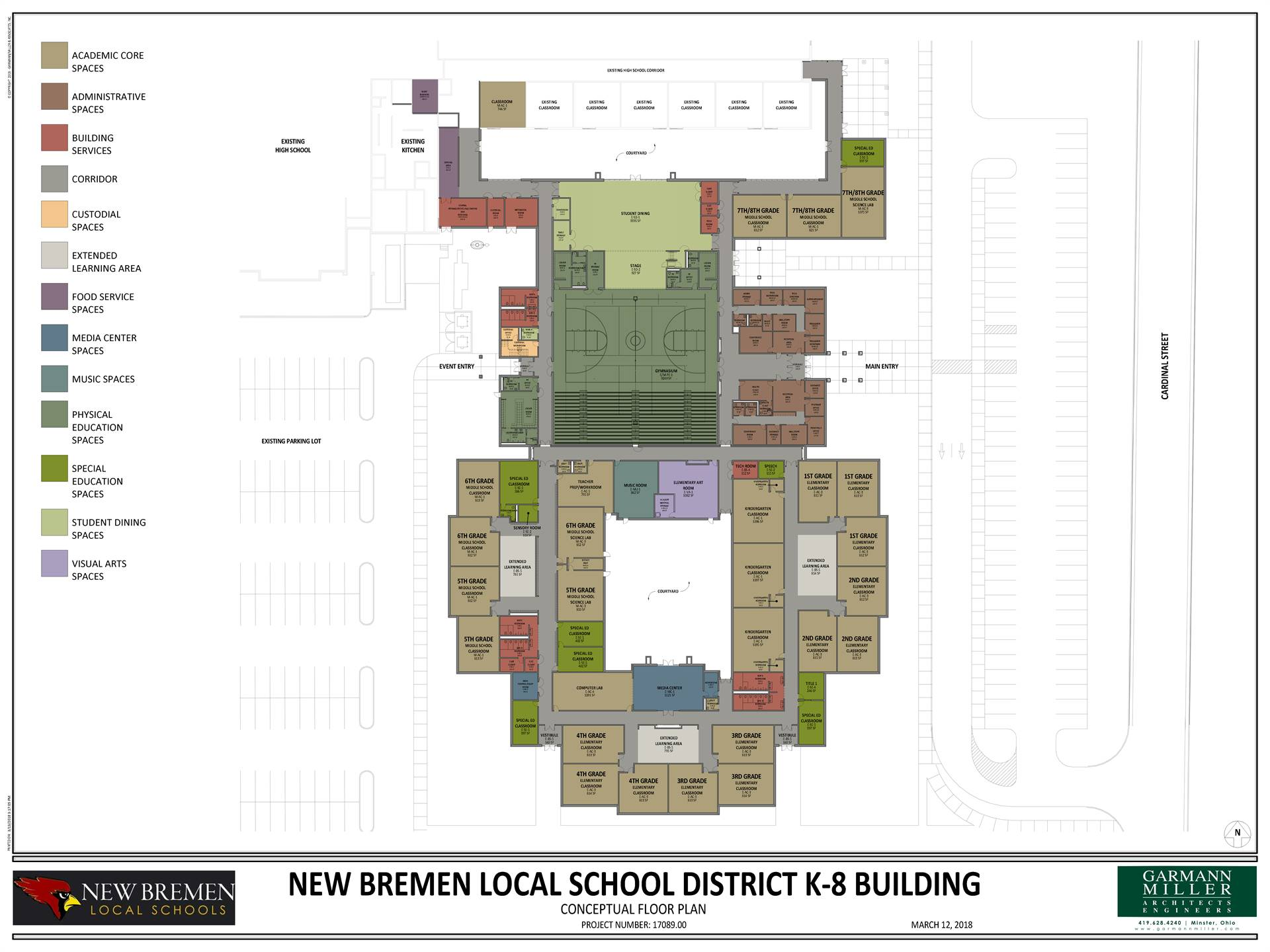 Floor plan of new K-8 building