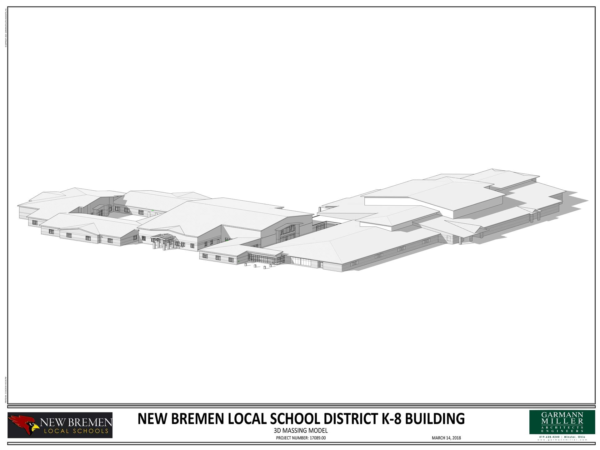 3D image of the new K-8 building connected to the existing high school