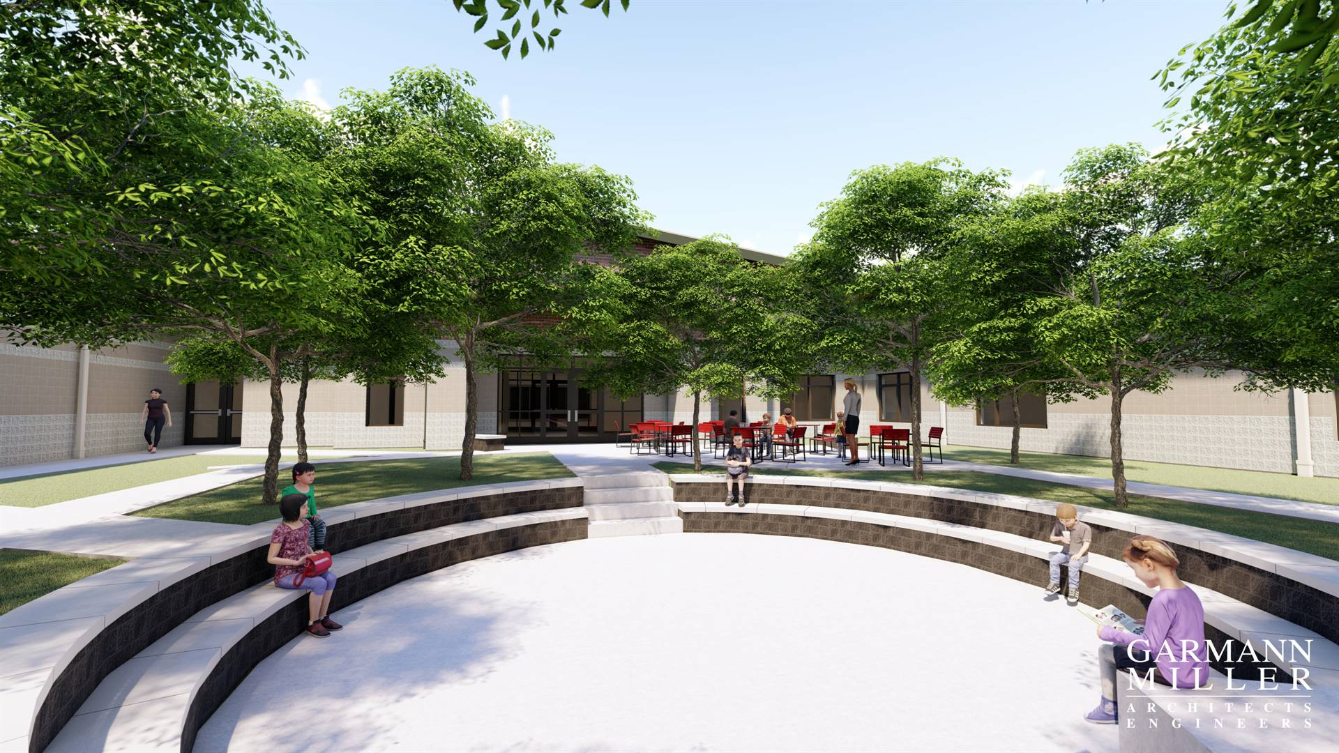 Main Courtyard View of the Proposed K-8 Building