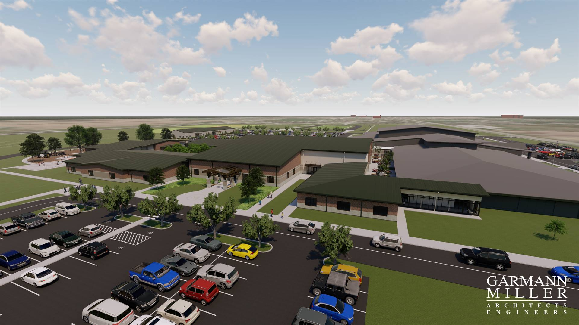 Exterior Aerial View of the Main Entry of the Proposed K-8 Building