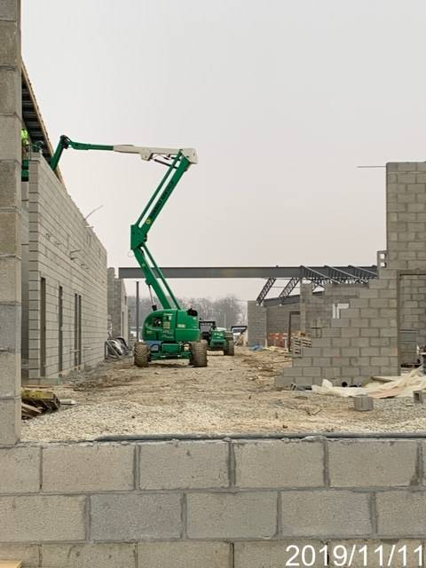 Bearing walls of new building being constructed