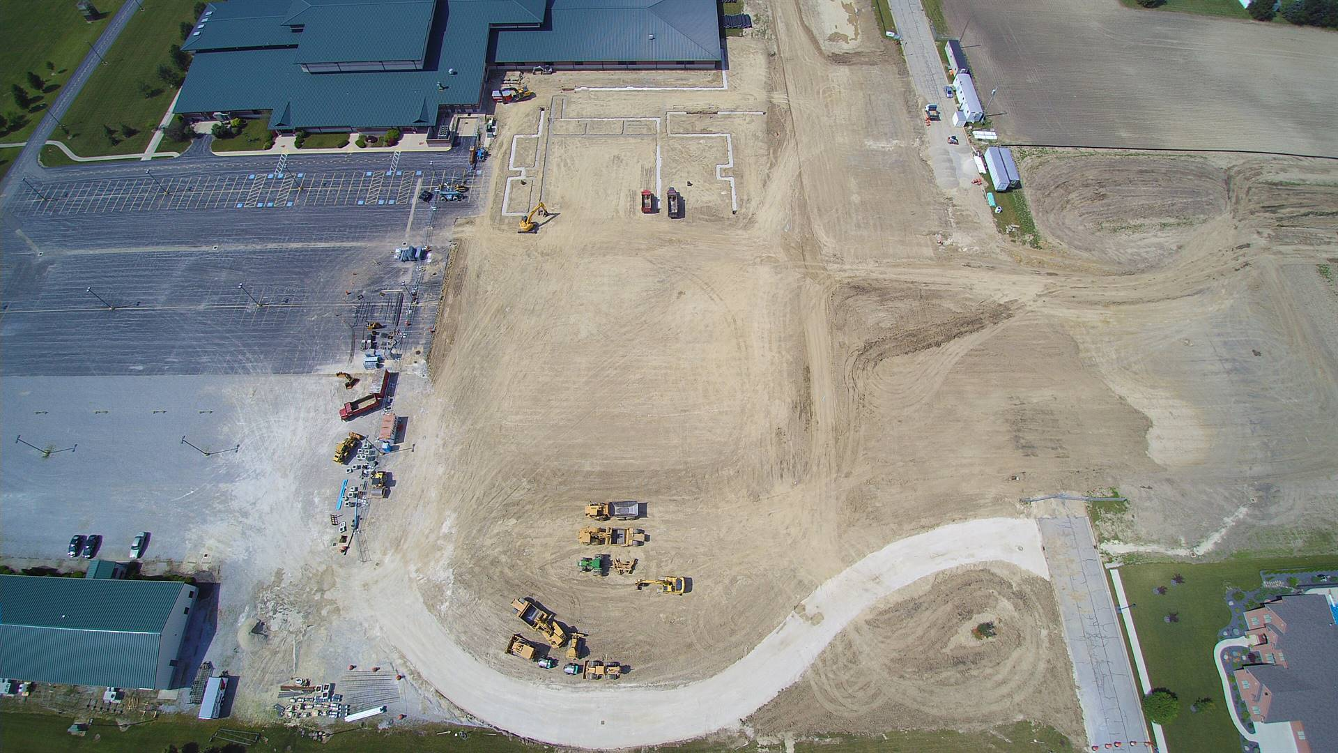 Aerial photo of construction site showing some footers