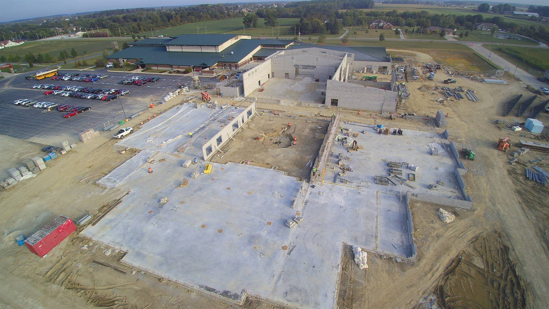 Aeriel View of New K-6 Building During Construction Taken 9-11-2019
