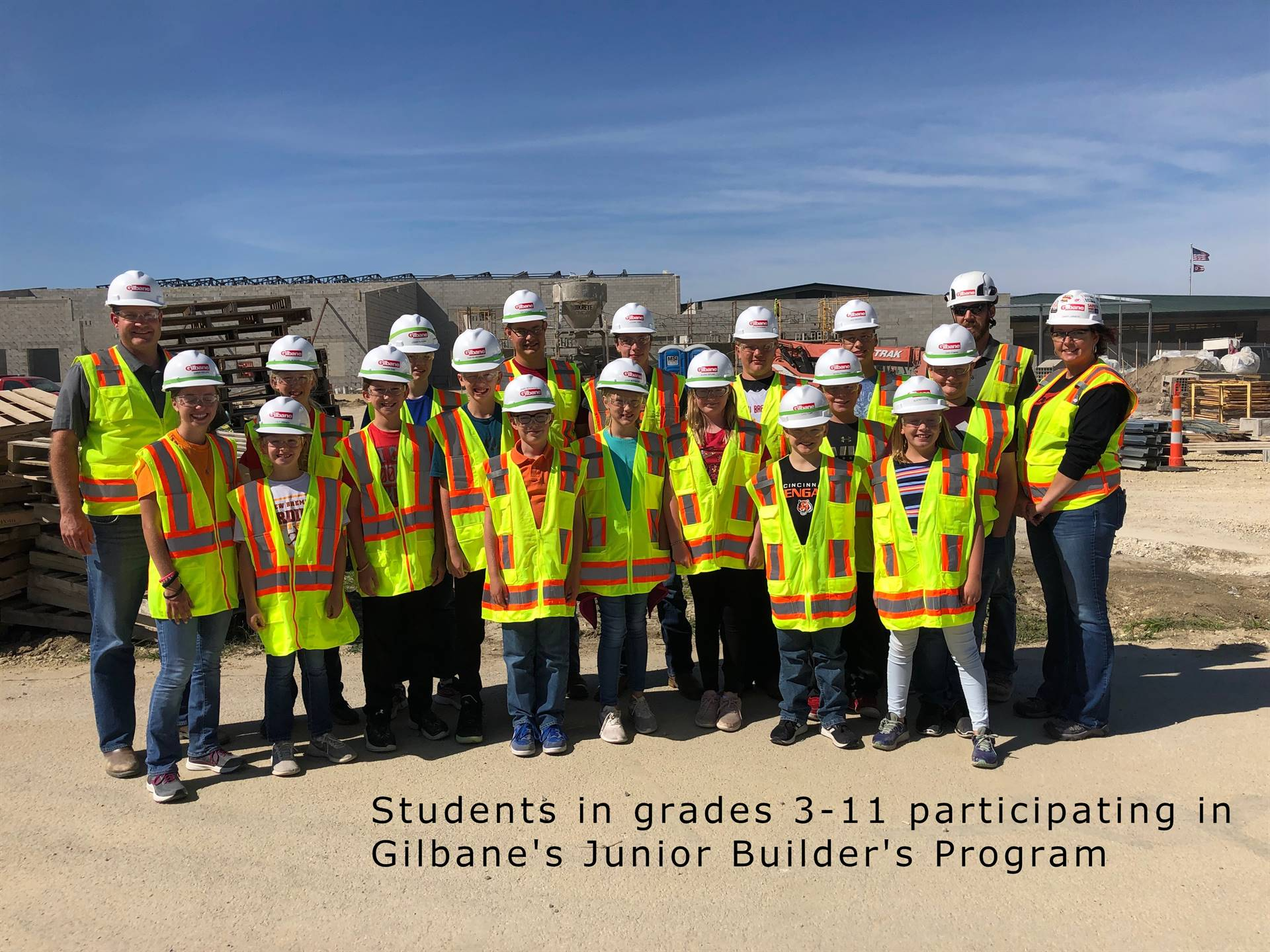 Group picture of NB students participating in Gilbane's Junior Builder's Program