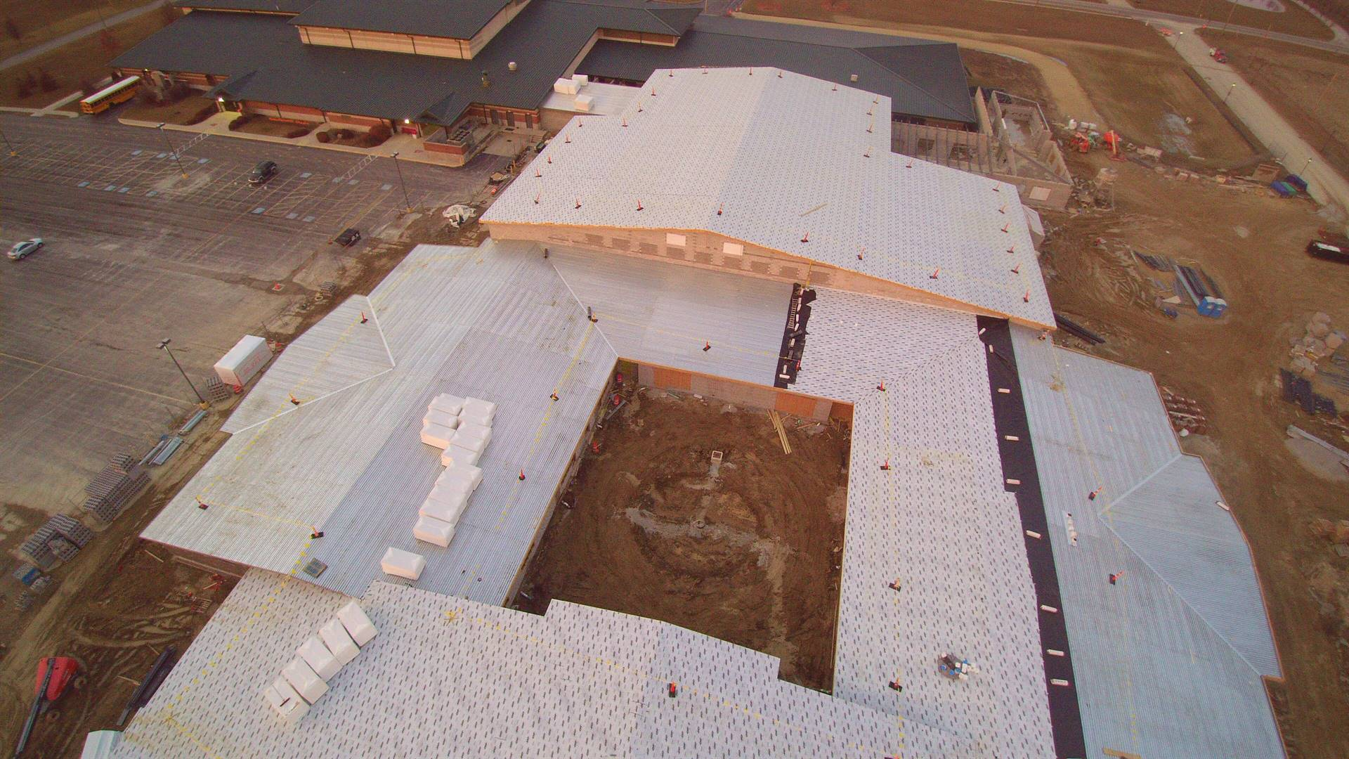 Aerial photo of the new building under contruction - picture facing north