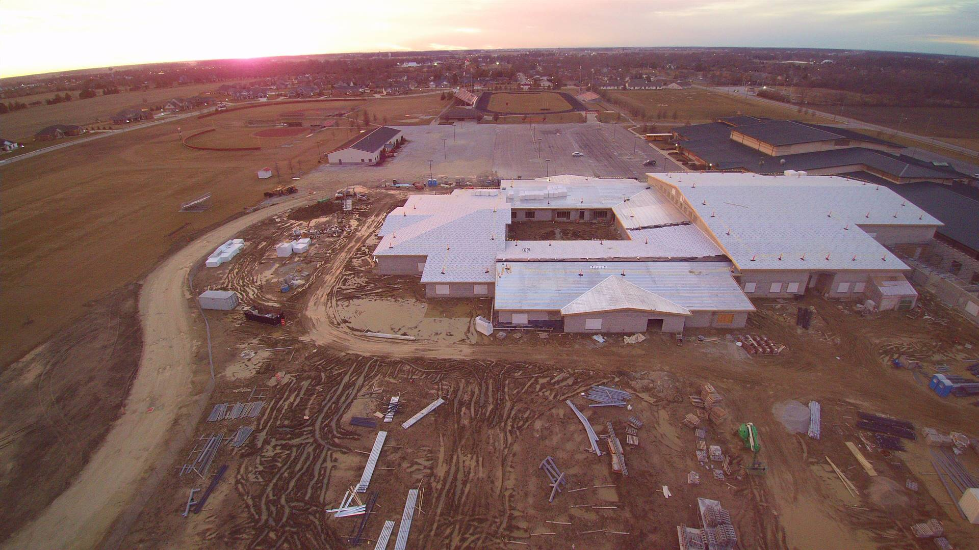 Aerial photo of the new building under contruction - picture facing west